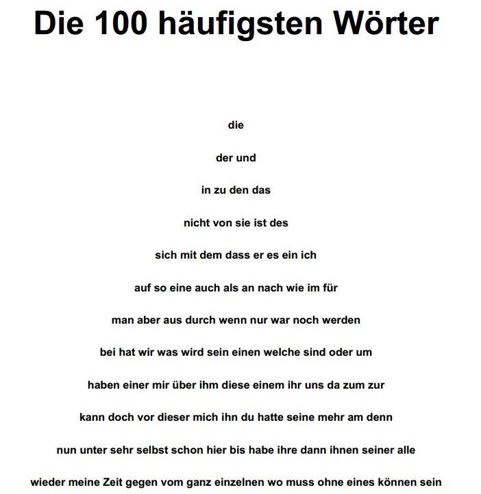 100 häufigsten deutschen Wörter