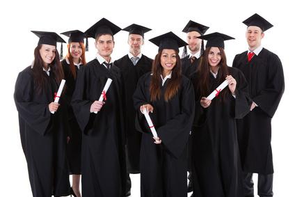 Happy smiling group of multiethnic graduates